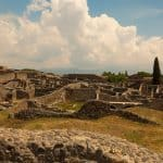 A panoramic view of Pompeii's ruins