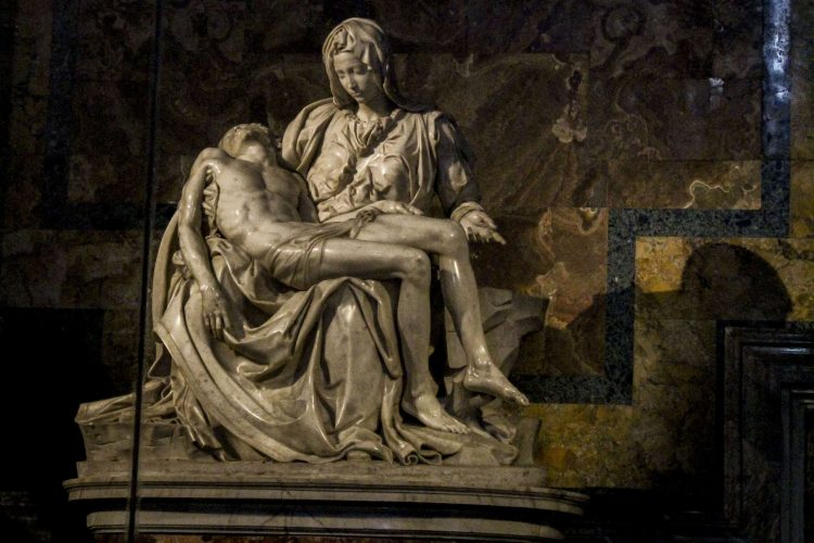 Michaelangelo's famous sculpture of the Virigin Mary holding the crucified Jesus. Legend says that this sculpture was created using only one block of marble.
