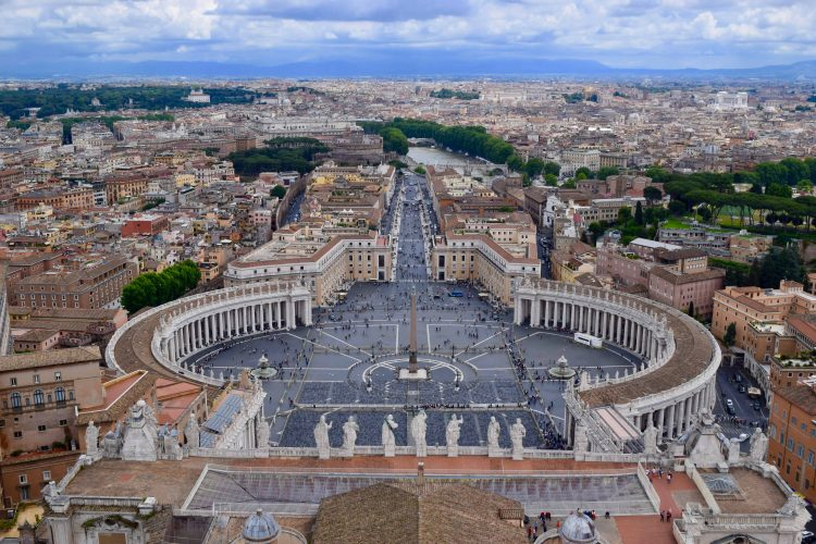 The dome of St. Peters Basilica hosts an amazing aerial view of the square and surrounding area of Vatican city. To get to the top, onlookers have to climb 551 steps or take a short elevator ride up.
